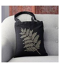 cotton shoulder bag, 'beautiful frond in sage' (india)