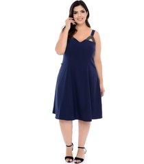 vestido forma rara plus size evasê pedraria azul marinho-58