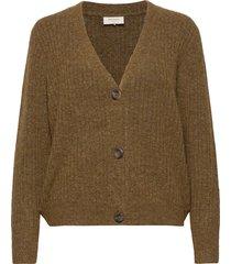 fqhill-s-car-rib stickad tröja cardigan grön free/quent