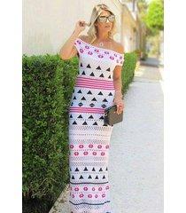 vestido longo tricot ombro a ombro tropical