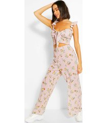 floral tie front top & culottes co-ord, rose