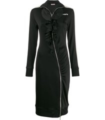 palm angels ruffle track style dress - black