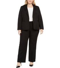 le suit plus size one-button straight-leg pantsuit