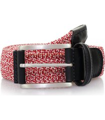 anderson's belts leather trimmed elasticated woven belt | red | af29red