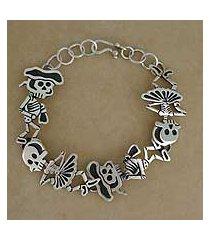 sterling silver link bracelet, 'skeletal matador dance' (mexico)