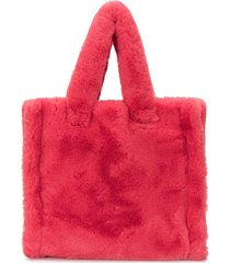stand studio lolita faux fur tote bag - red