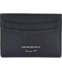 emporio armani grain leather logo card holder