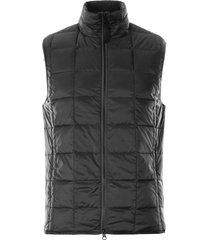 taion high neck w zip inner down vest   black   002-blk zip