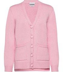 wool knit gebreide trui cardigan roze ganni