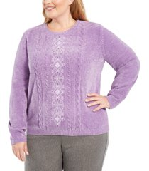 alfred dunner plus size loire valley embroidered chenille sweater