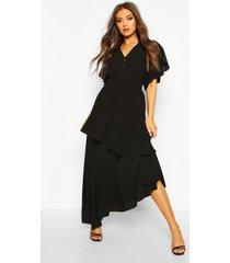 angel sleeve tiered maxi dress, black