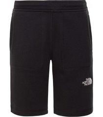 the north face korte broek youth fleece shorts tnf black tnf white-m