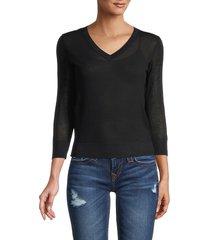 vince women's knit cotton sweater - optic white - size xs