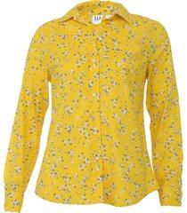 camisa gap reta floral amarela