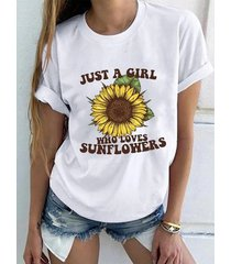 camiseta de manga corta con cuello redondo y girasol