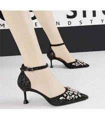 mujer sandalias zapatos de tacon con lentejuela fashion-cool-negro