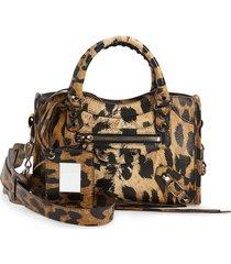 balenciaga mini classic city aj lambskin leather satchel -