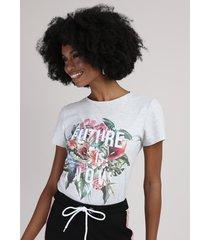 "blusa feminina ""future is now"" com flores manga curta decote redondo cinza mescla"
