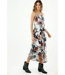 falda de mujer, silueta amplia, con diseño midi y estampado bótanico