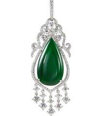 diamond jade 18k white gold chandelier pendant