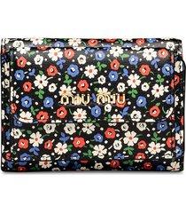 miu miu floral print mini wallet - black