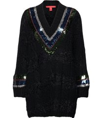 cable v-neck ls sweater gebreide trui zwart tommy hilfiger