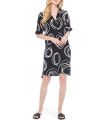 women's nic+zoe billow circle print shift dress, size large - black