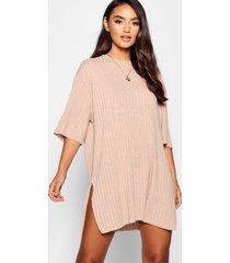 petite ribgebreide soepelvallende t-shirt-jurk, kameel