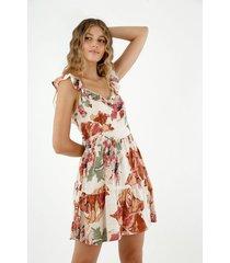 vestido de mujer, diseño corto de cuello en v de tiras con boleros y estampado floral