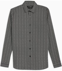 mens black ditsy polka dot stretch skinny shirt