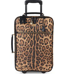 animal-print leather suitcase