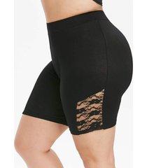 plus size lace insert high rise skinny shorts