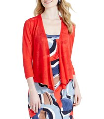 women's nic+zoe 4-way convertible three quarter sleeve cardigan, size x-small - red
