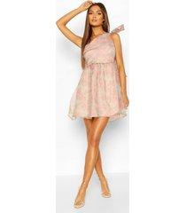 floral organza mesh one shoulder bow skater dress, pink