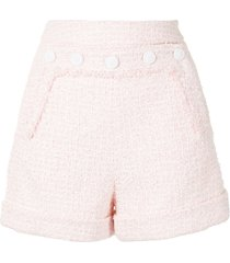 paule ka bouclé tweed button shorts - pink