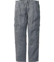 pantaloni cargo regolabili in puro lino regular fit (grigio) - bpc bonprix collection