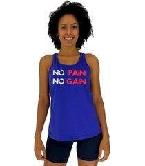 regata feminina alto conceito no pain no gain azul royal
