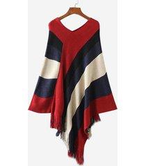 mantello con scollo a v a contrasto in nappa con scollo a v mantello asimmetrico in maglia a pipistrello