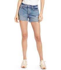 women's rag & bone dre high waist denim shorts, size 24 - blue
