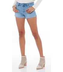 women's paige jj high waist cuffed denim shorts, size 32 - blue