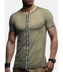 mens ribbon stitching letter printed sottile fit summer casual magliette