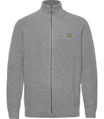 knitted rib zip through cardigan gebreide trui cardigan grijs lyle & scott