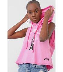 regata coca-cola jeans lettering capuz rosa - rosa - feminino - algodã£o - dafiti