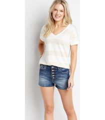 kancan™ womens high rise button fly dark wash 3in shorts blue - maurices
