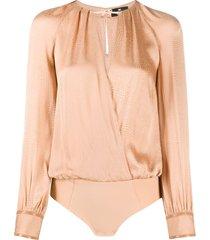 elisabetta franchi wrap bodysuit blouse - neutrals