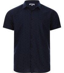 camisa print rombos color azul, talla l