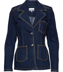light stretch denim blazer colbert blauw ganni