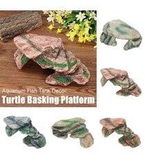 rocas resina de tortuga que toma el sol plataforma peces de acuario tanque tortuga rampa island - medio