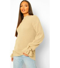 tall bell sleeve knitted sweater, stone