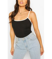contrast binding ribbed cami top, black